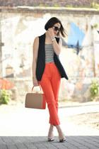 cotton Orange pants - stripes H&M blouse