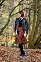 tartan midi PresKA skirt - leather H&M jacket