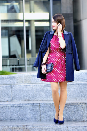 hearts new look dress - navy cotton new look coat