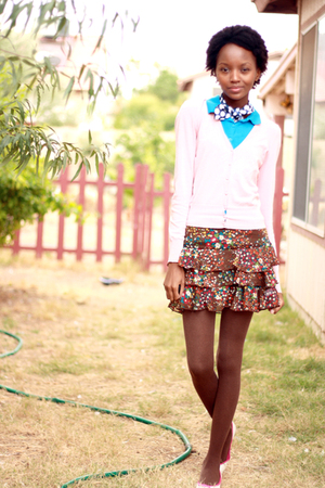 pink cardigan - brown skirt - blue shirt - blue scarf