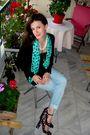 Black-zara-blouse-pinko-jeans-blue-diane-von-furstenderg-shoes-blue-uterqu