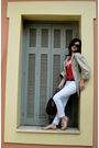 White-gap-jeans-red-gap-t-shirt-beige-zara-coat-brown-louis-vuitton-belt-