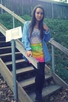 blue YSL shirt - white - Made by me skirt