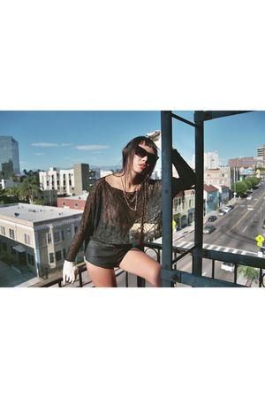 black black moth shirt - black moth shorts - evanie fraust sunglasses - adri law