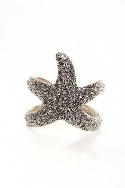 silver starfish cuff bracelet
