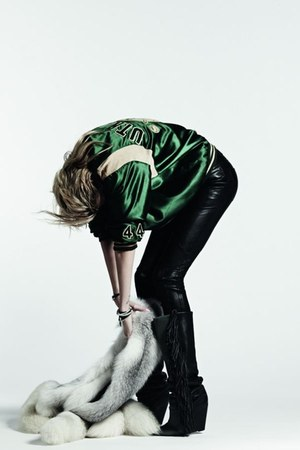 green shiny Alexander Wang top