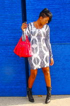 silver H&M dress - black BCBG boots - red Steve Madden bag