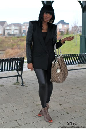 black BCBG blazer - brown Aldo boots - black Vero Moda leggings