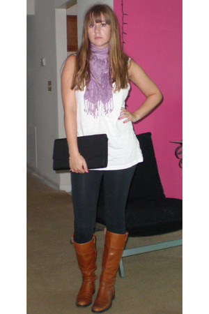 f21 shirt - street vender in NYC scarf - Old Navy Clutch - Banana Republic boots