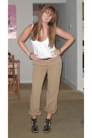 J Crew pants - f21 top - vint belt - Wet Seal shoes