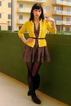 yellow banana republic cardigan - blue unknown brand boots - H&M dress - black v