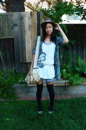 banana republic bag - na blouse - na socks - Forever 21 shirt - Forever 21 hat -