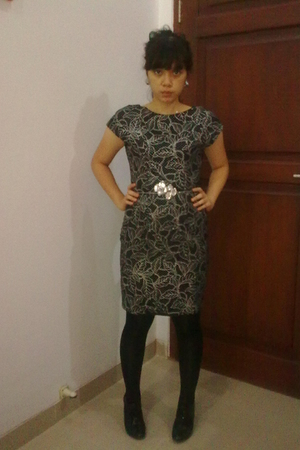 black tights - black dress - silver accessories