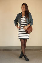 black H&M dress - blue Mums jacket - brown vintage bag - black H&M boots - black