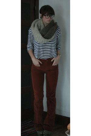burnt orange Anthropologie pants - navy American Eagle sweater