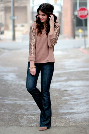 sequin sleeve Target top - dark denim Seven jeans - Forever 21 wedges