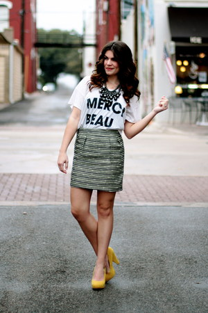 Urban Outfitters shirt - yellow Forever 21 pumps - tweed Target skirt