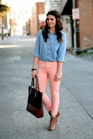 pink Forever 21 jeans - chambray Gap shirt - Target bag