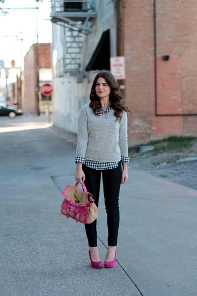 pink Forever 21 pumps - grey Gap sweater - Forever 21 top