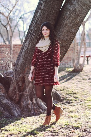 beige cowlneck Gap scarf - polka dot Forever 21 dress - Target wedges
