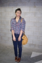 blue Dotti jeans - yellow handbag Mimco - brown gladiator heels zu