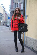 cotton red Anouk sweater - leather Topshop boots - faux leather Topshop pants