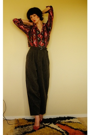 red pattern vintage blouse - red Din Sko shoes - gray large weekday pants