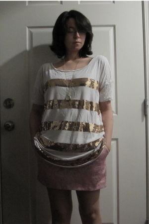 white gold sequin H&M shirt - pink Forever 21 skirt - gold clock diva necklace
