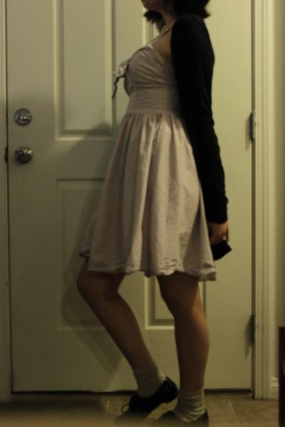 black oxford Aldo shoes - pink striped H&M dress - beige socks - black cotton on