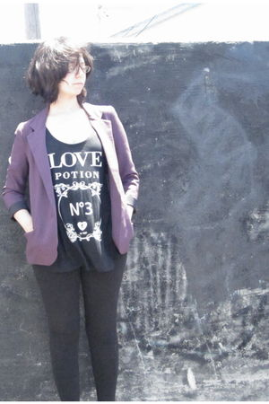 black cotton on leggings - purple Silence & Noise blazer - black cotton on top