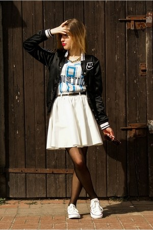 white River Island skirt - black nike jacket - gold River Island necklace