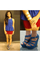 blue peplum Seven Confessions top - blue strappy Parisian wedges