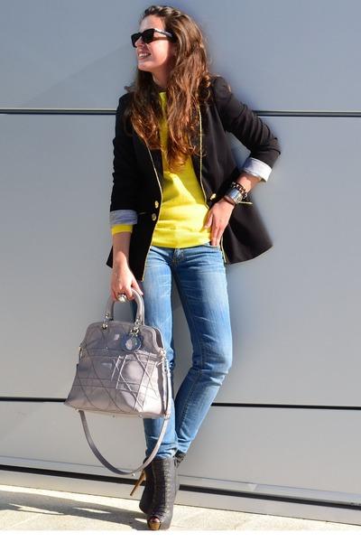 GoJane boots - H&M sweater - DIY blazer - dior purse