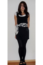 black American Apparel dress - white American Apparel t-shirt - white accessorie