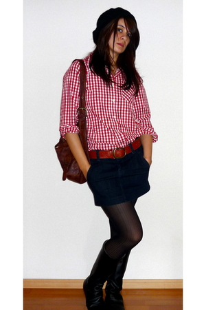 red vintage shirt - blue Uniqlo skirt - brown Uniqlo belt - brown accessories -