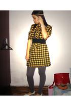 thrifted dress - Divi leggings - Divi belt - DIY accessories - Parisian Jr shoes