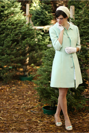 light blue vintage coat - white vintage dress - ivory Wool & Whatnot hat