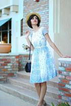 beige straw boater Mossimo hat - sky blue Mrs Pomeranz dress
