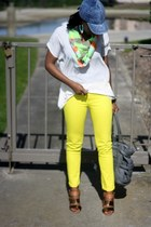 blue Target hat - yellow Gap jeans - chartreuse Target scarf
