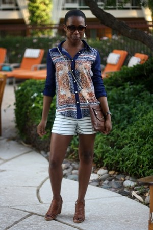 white PERSUNMALL shorts - navy PERSUNMALL blouse - brown BCBGeneration wedges