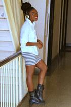 studded Forever 21 boots - Forever 21 shirt - Forever 21 skirt