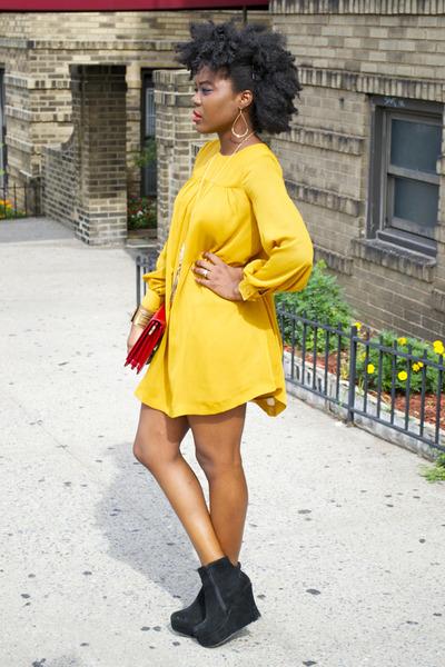 H&M dress - Steve Madden boots - Zara bag - H&M necklace