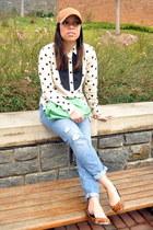 blue madewell jeans - tan JCrew hat - ivory silk madewell blouse
