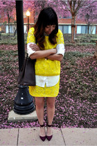 white silk madewell blouse - yellow lace madewell shirt