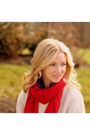 beige Loft sweater - blue Old Navy shirt - ruby red Target scarf
