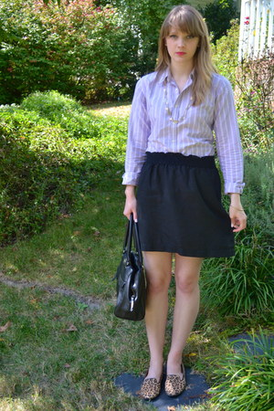 light purple Ralph Lauren blouse - black Ann Taylor Loft skirt