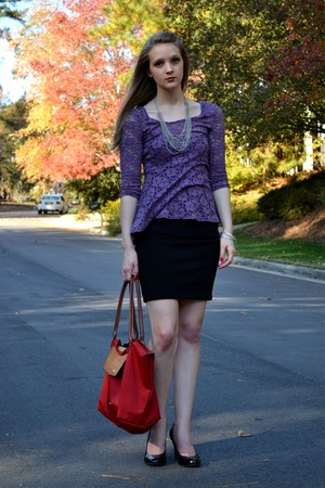 light purple lace peplum decree top - black Forever21 skirt