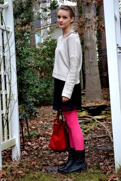 hot pink Target tights - black Shoedazzle boots - black xhilaration dress
