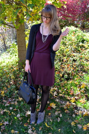 deep purple H&M dress - black kate spade bag - charcoal gray Gap cardigan