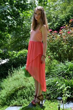 dark brown Mossimo shoes - salmon xhilaration dress
